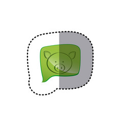 Color sticker with pig face in square speech vector