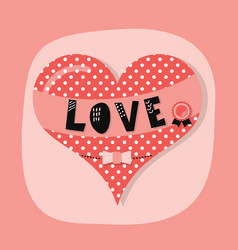 cute spotty and dotted love heart emblem vector image vector image