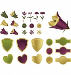 Design elements flowers and shields vector