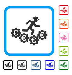 euro gears runner framed icon vector image