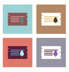 flat icon design collection paper from tree vector image vector image