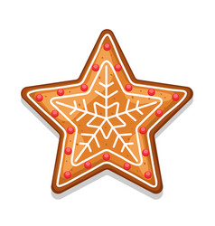 gingerbread cookies star of merry vector image