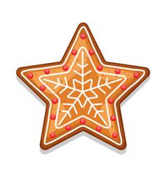 Gingerbread cookies star of merry vector