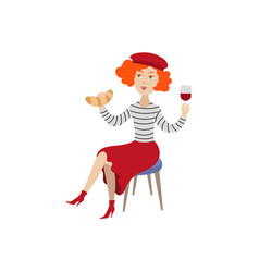 girl in beret with glass of wine croissant vector image