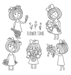 girls and flowers vector image vector image