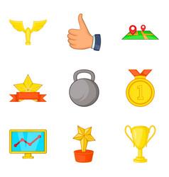 gold coaching icon set cartoon style vector image