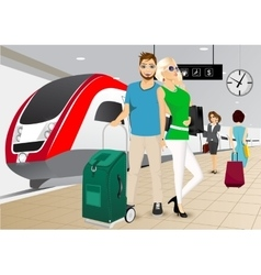 happy couple standing at the train station vector image vector image