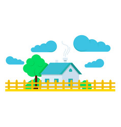 House with tree flat and clouds vector