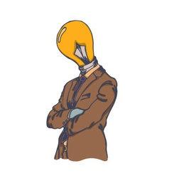 Isolated cartoon creative lightbulb head man vector