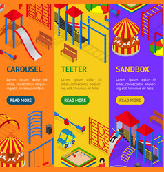 kids playground banner vecrtical set isometric vector image vector image