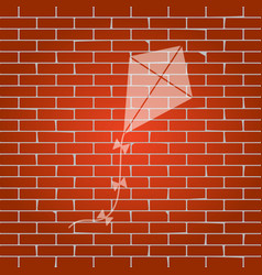 Kite sign whitish icon on brick wall as vector
