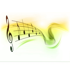 music note background white green vector image vector image