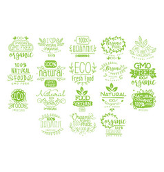 Organic food calligraphic label collection vector