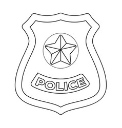 Police badge icon in outline style isolated on vector