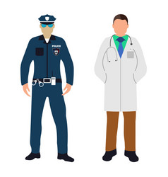 Policeman and doctor cartoon icon service 911 vector