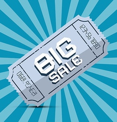 Retro Big Sale Paper Ticket on Blue Background vector image vector image