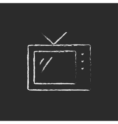 Retro television drawn in chalk vector image