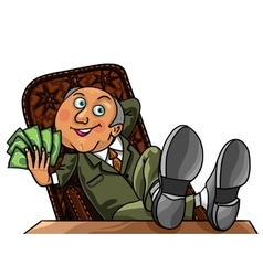 Rich Business Man with money vector image