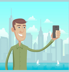 Selfie in big city vector