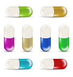 Set colorful pills isolated on white background 1 vector