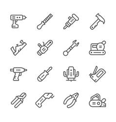 Set line icons of electric and hand tool vector