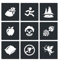 Set of long life icons pulse motion vector