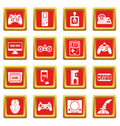 Video game icons set red vector