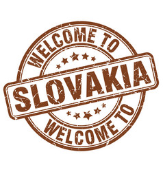 Welcome to slovakia brown round vintage stamp vector