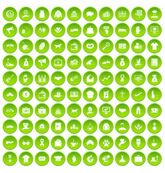 100 charity icons set green vector
