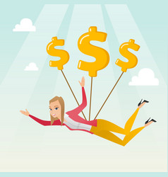 Business woman flying with dollar signs vector