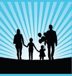 family and happy children with balloon silhouette vector image