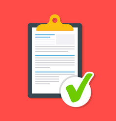Business document on the clipboard with a tick vector