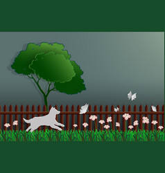 Paper art concept of nature dog catching butterfly vector