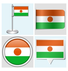 Niger flag - sticker button label flagstaff vector