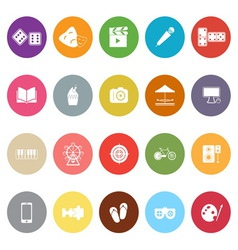 Entertainment flat icons on white background vector image