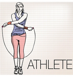 woman training with jump rope vector image