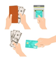 Hands holding money credit card and purse vector image