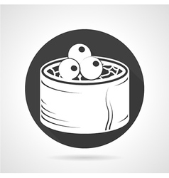 Seafood black round icon vector