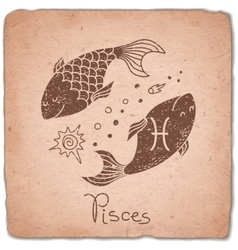 Pisces zodiac sign horoscope vintage card vector