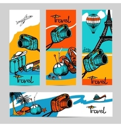 Travel photo banner set vector