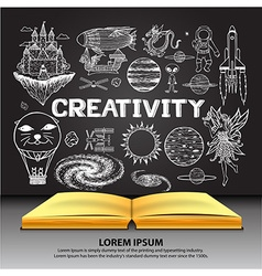 Creativity on openned book vector