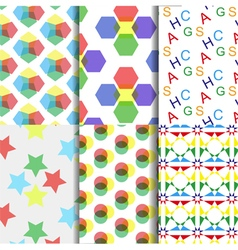 Six colorful seamless vector