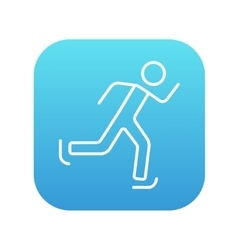 Speed skating line icon vector