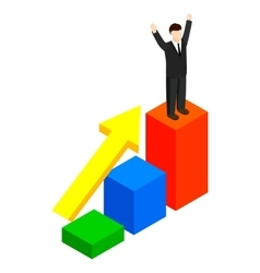 Businessman standing on the winning podium icon vector