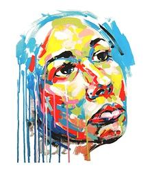 Acrylic painting color portrait of women vector