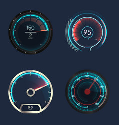 analog and futuristic speedometer or gauge vector image vector image