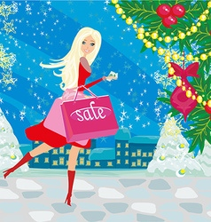 beautiful woman doing the shopping in winter vector image vector image