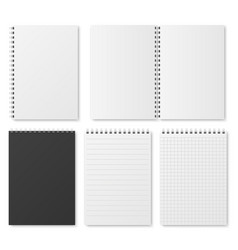 blank open and closed realistic notebook vector image vector image