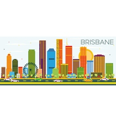 Brisbane skyline with color buildings vector