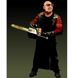 cartoon angry man maniac with a chainsaw vector image vector image